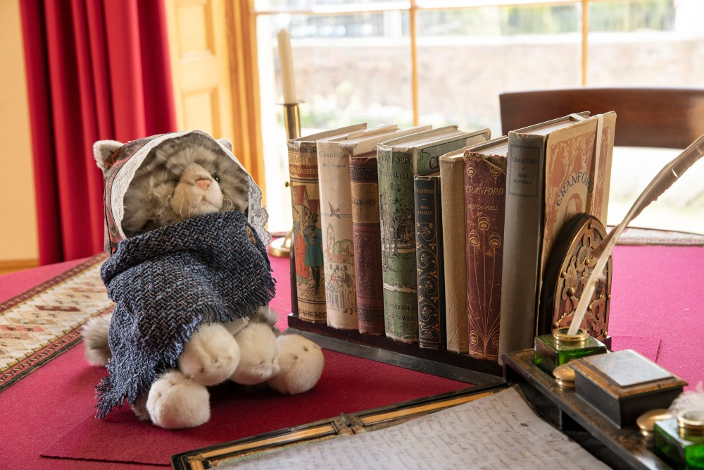 Toy cat (part of family trail) sat beside several editions of the book Cranford