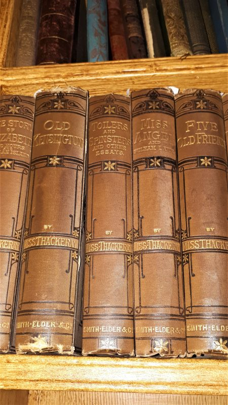 Five books written Miss Thackeray, in the Study at Elizabeth Gaskell's House.