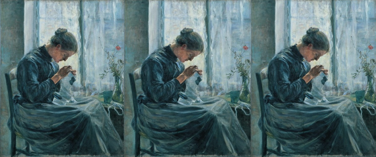 Woman Sewing by Kuroda Seiki (Ishibashi Museum of Art)